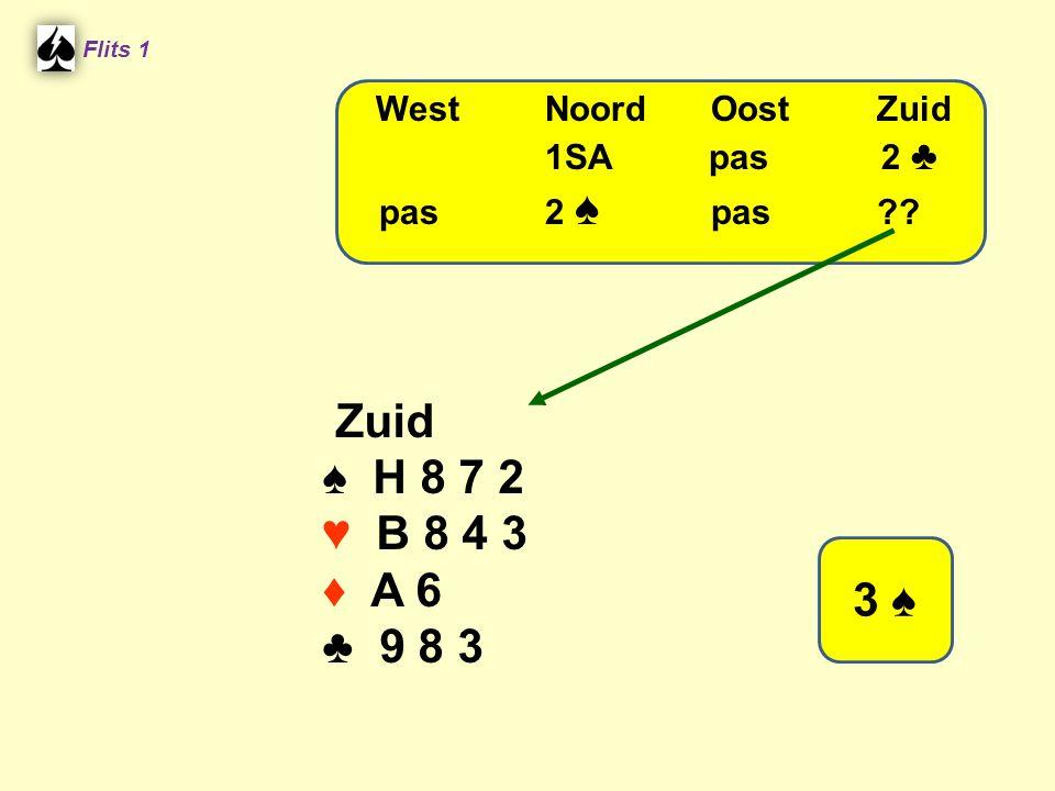 Zuid ♠ H 8 7 2 ♥ B 8 4 3 ♦ A 6 ♣ 9 8 3 3 ♠ West Noord Oost Zuid