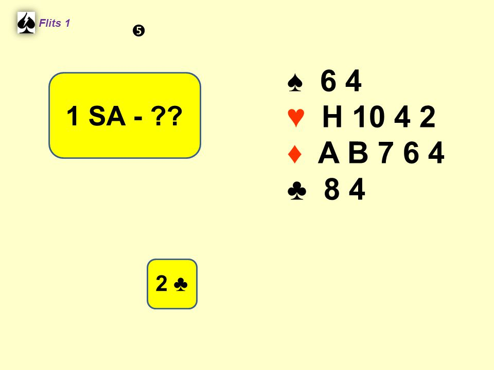 Flits 1  ♠ 6 4 ♥ H 10 4 2 ♦ A B 7 6 4 ♣ 8 4 1 SA - Spel 2. 2 ♣