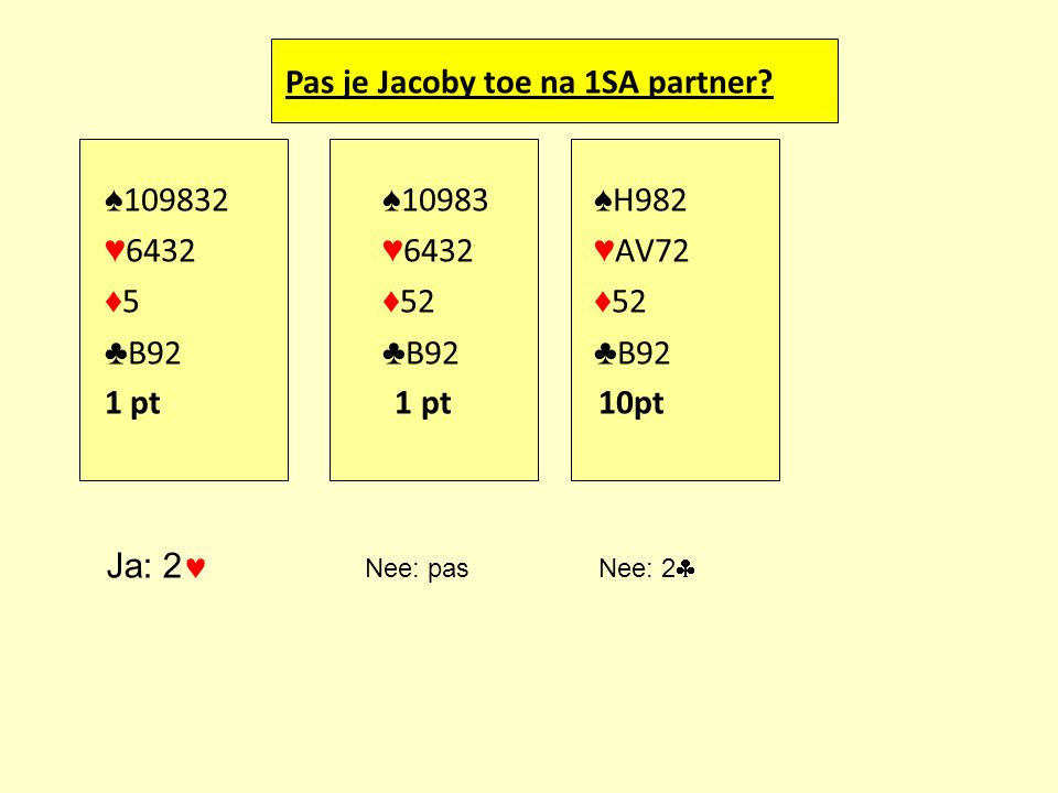 Pas je Jacoby toe na 1SA partner
