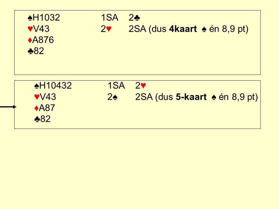 ♠H1032 1SA 2♣ ♥V43 2♥ 2SA (dus 4kaart ♠ én 8,9 pt) ♦A876 ♣82