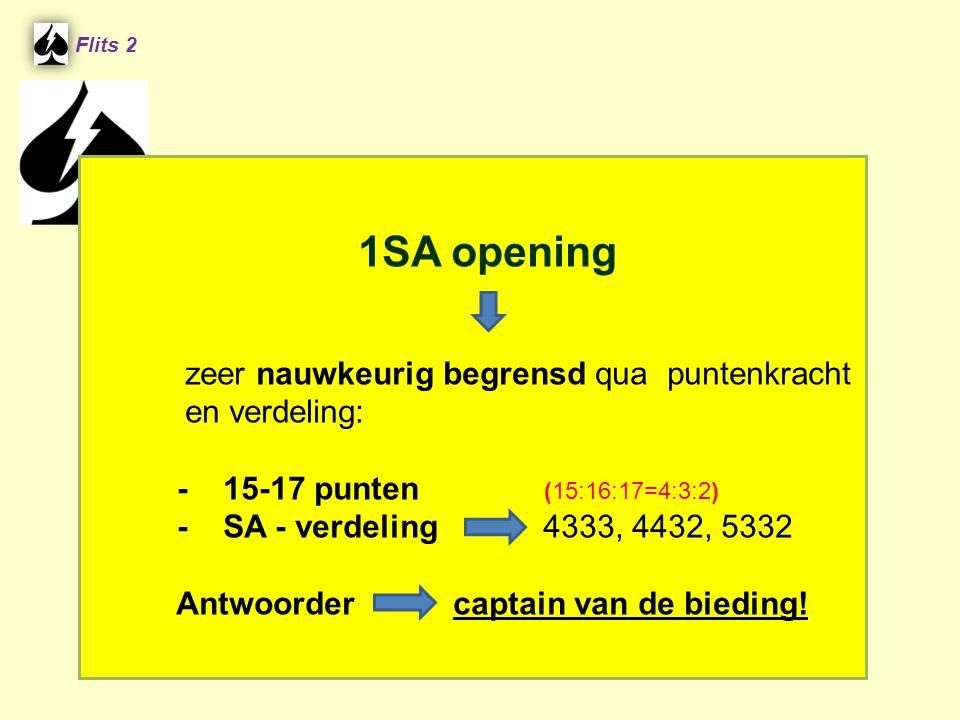 1SA opening zeer nauwkeurig begrensd qua puntenkracht en verdeling: