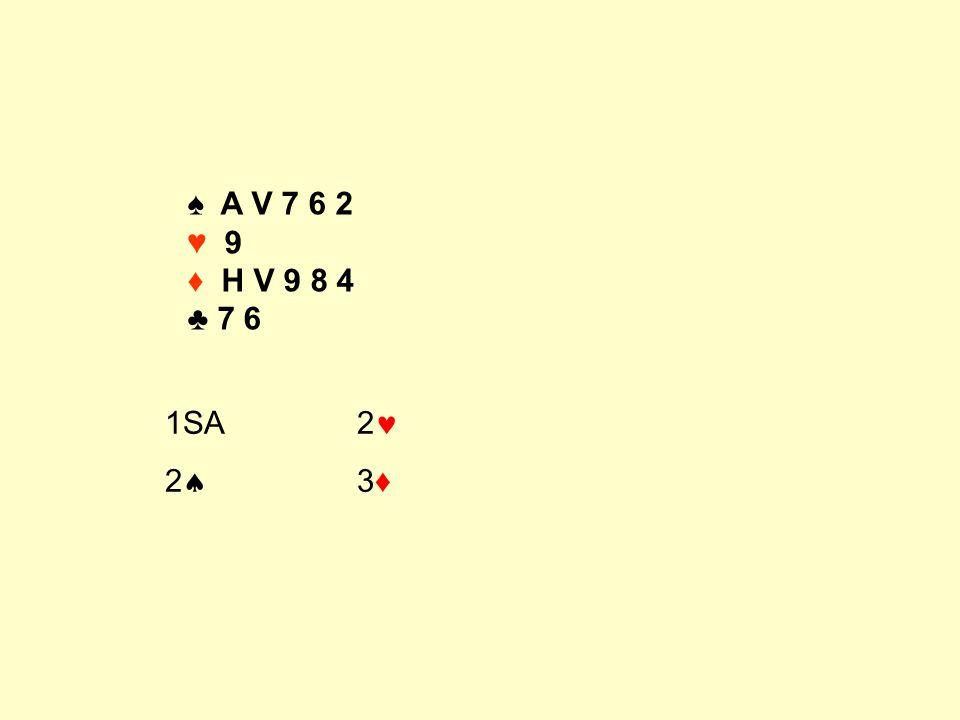 ♠ A V 7 6 2 ♥ 9 ♦ H V 9 8 4 ♣ 7 6 1SA 2 2 3♦