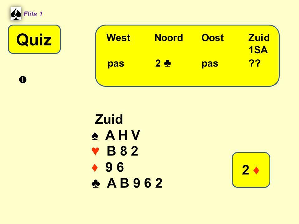 Quiz Zuid ♠ A H V ♥ B 8 2 ♦ 9 6 ♣ A B 9 6 2 2 ♦ West Noord Oost Zuid
