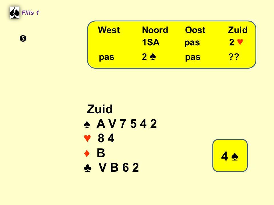 Zuid ♠ A V 7 5 4 2 ♥ 8 4 ♦ B ♣ V B 6 2 4 ♠ West Noord Oost Zuid