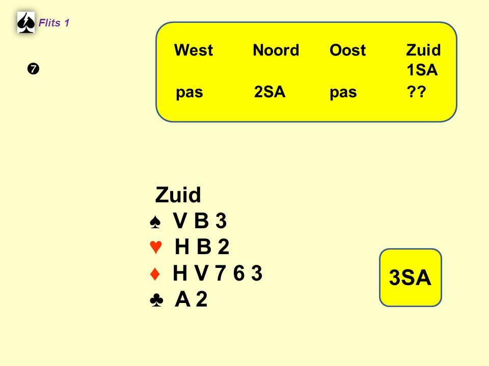 Zuid ♠ V B 3 ♥ H B 2 ♦ H V 7 6 3 ♣ A 2 3SA West Noord Oost Zuid