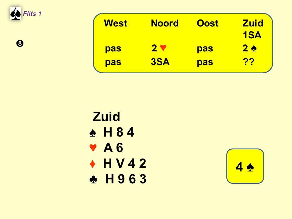 Zuid ♠ H 8 4 ♥ A 6 ♦ H V 4 2 ♣ H 9 6 3 4 ♠ pas 3SA pas