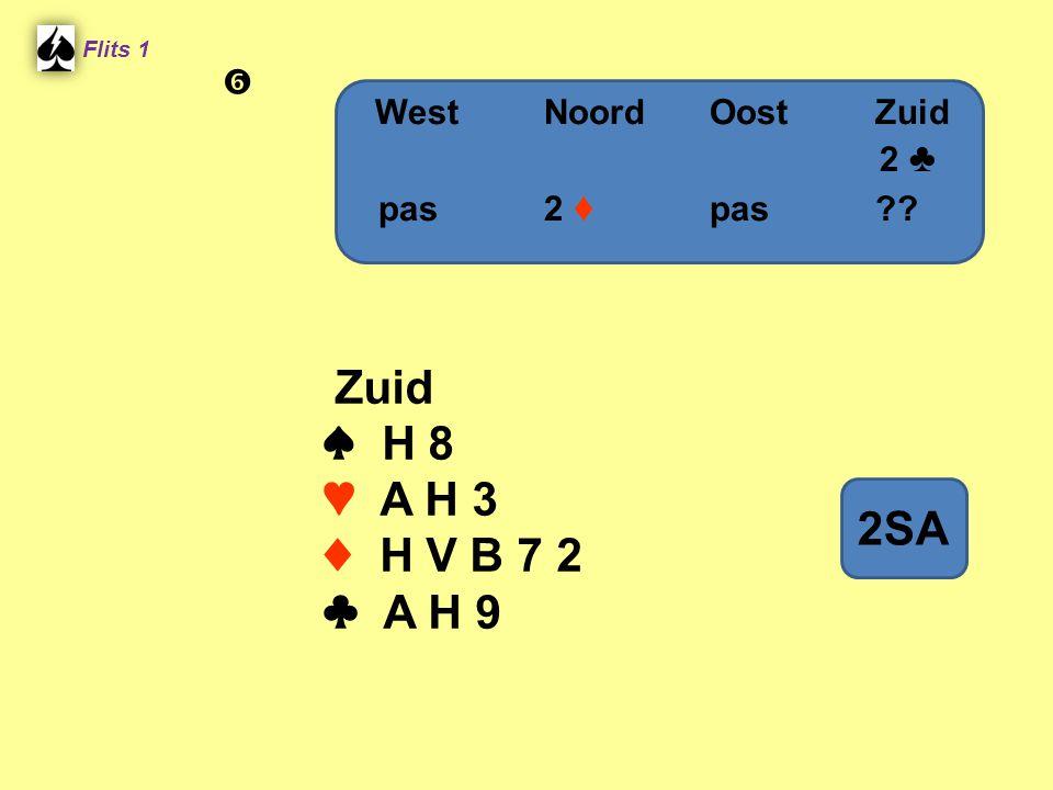 Zuid ♠ H 8 ♥ A H 3 ♦ H V B 7 2 ♣ A H 9 2SA  West Noord Oost Zuid