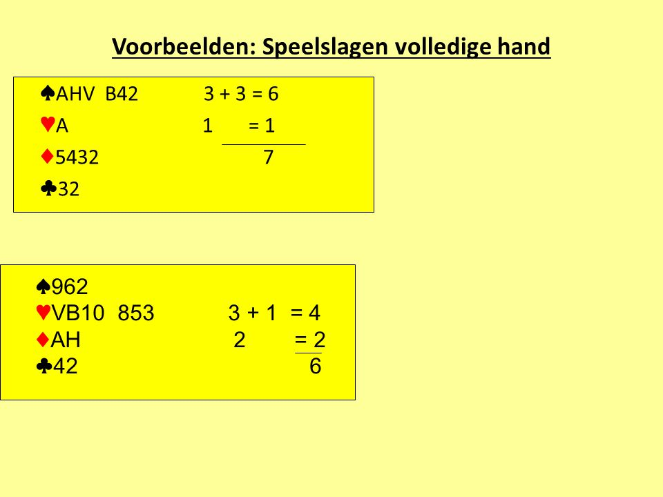 Voorbeelden: Speelslagen volledige hand