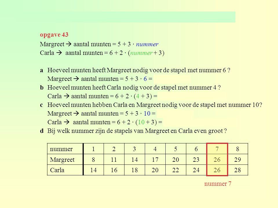 opgave 43 Margreet  aantal munten = 5 + 3 · nummer. Carla  aantal munten = 6 + 2 · (nummer + 3)
