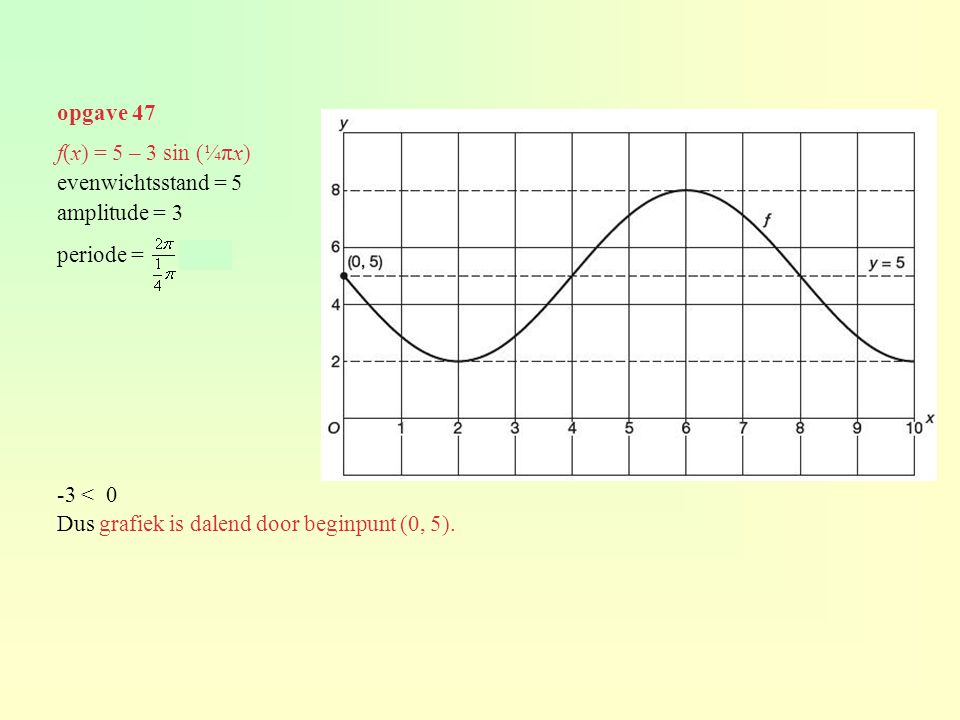 opgave 47 f(x) = 5 – 3 sin (¼πx) evenwichtsstand = 5. amplitude = 3. periode = = 8. -3 < 0.