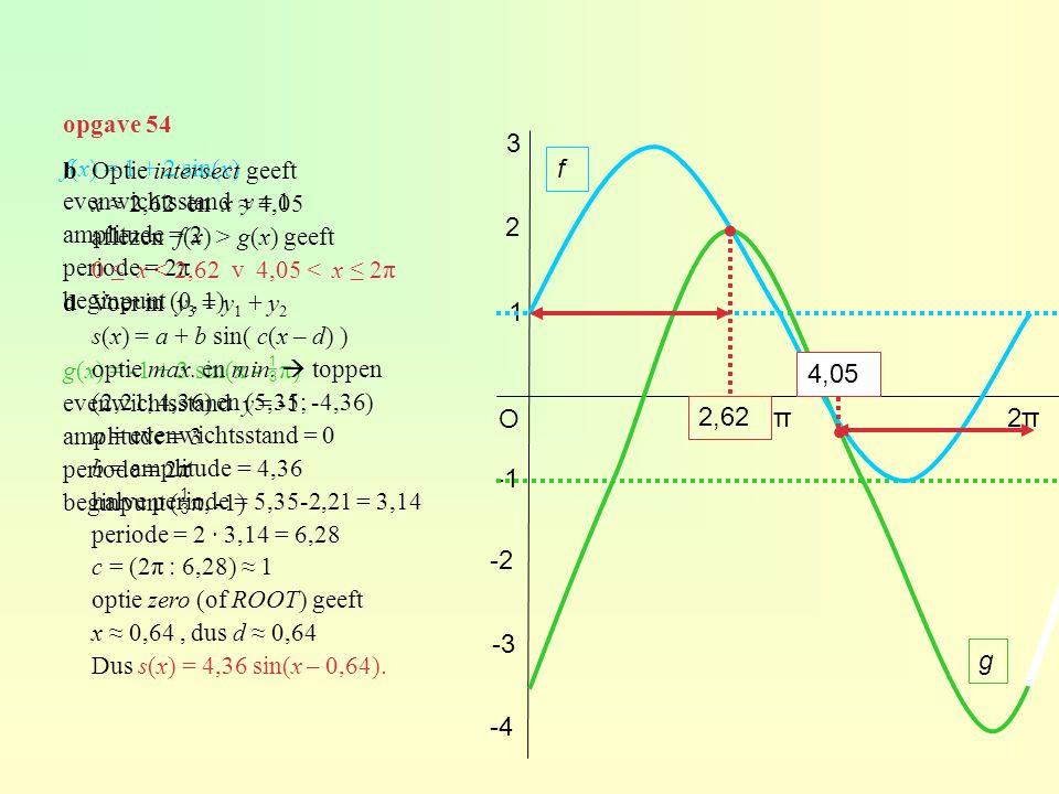opgave 54 3. b Optie intersect geeft. x ≈ 2,62 en x ≈ 4,05. aflezen f(x) > g(x) geeft. 0 ≤ x < 2,62 v 4,05 < x ≤ 2π.