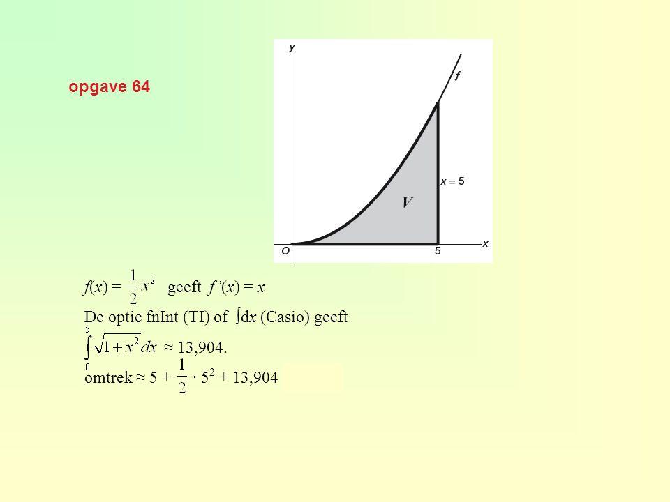 opgave 64 f(x) = geeft f'(x) = x. De optie fnInt (TI) of ∫dx (Casio) geeft. ≈ 13,904.