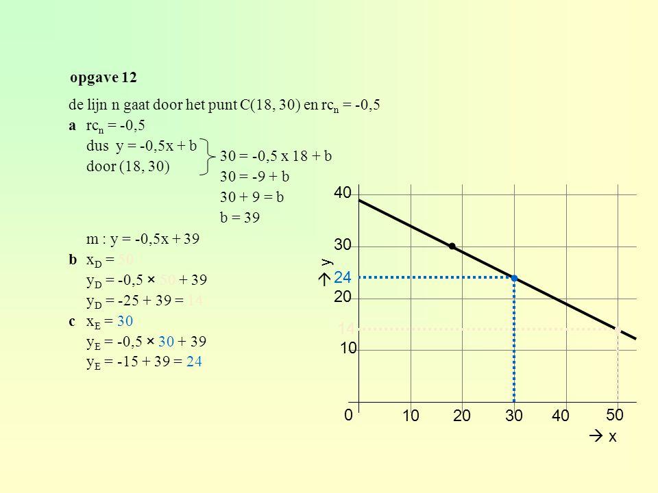 opgave 12 de lijn n gaat door het punt C(18, 30) en rcn = -0,5. a rcn = -0,5. dus y = -0,5x + b.
