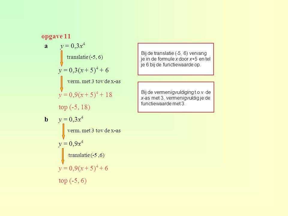 opgave 11 a y = 0,3x4 y = 0,3(x + 5)4 + 6 y = 0,9(x + 5)4 + 18