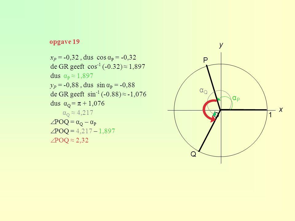 ∙ ∙ y P αQ αP x O 1 Q opgave 19 xP = -0,32 , dus cos αP = -0,32