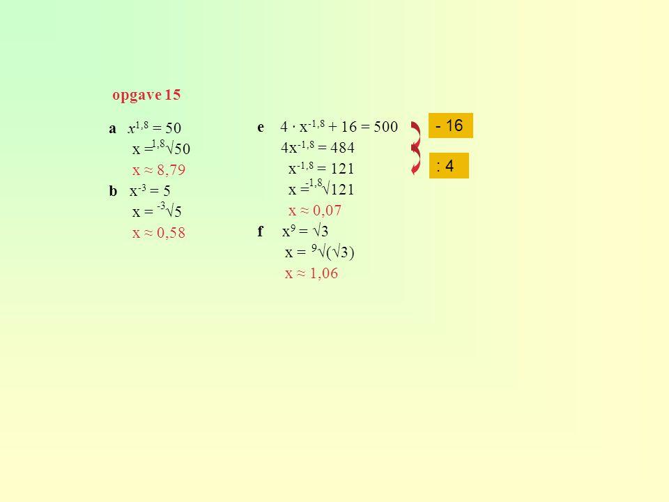 opgave 15 - 16 a x1,8 = 50 x = √50 x ≈ 8,79 b x-3 = 5 x = √5 x ≈ 0,58