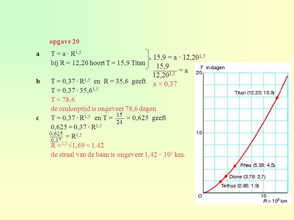 opgave 20 a T = a · R1,5. bij R = 12,20 hoort T = 15,9 Titan. b T = 0,37 · R1,5 en R = 35,6 geeft.
