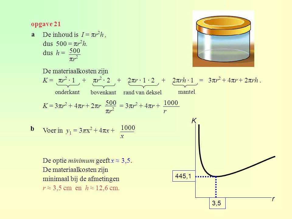 K r opgave 21 a De inhoud is I = πr2h , dus 500 = πr2h. dus h =