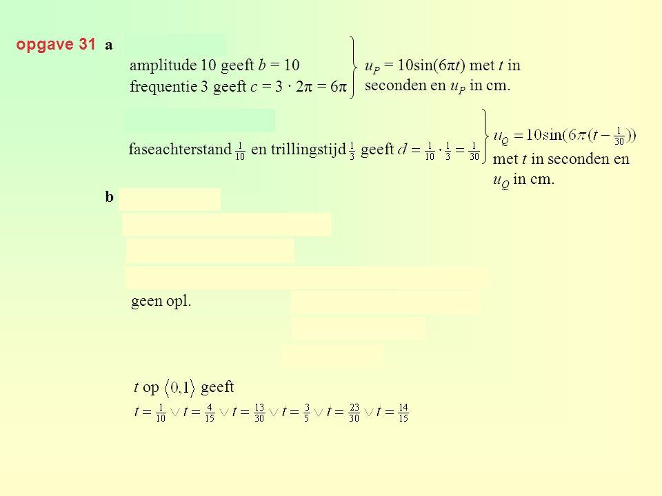 opgave 31 a. amplitude 10 geeft b = 10. frequentie 3 geeft c = 3 · 2π = 6π. uP = 10sin(6πt) met t in seconden en uP in cm.