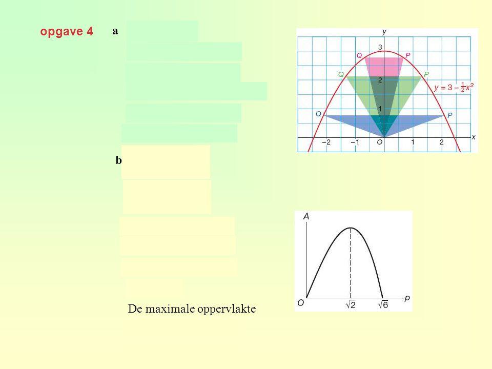 opgave 4 a en b geeft dus De maximale oppervlakte