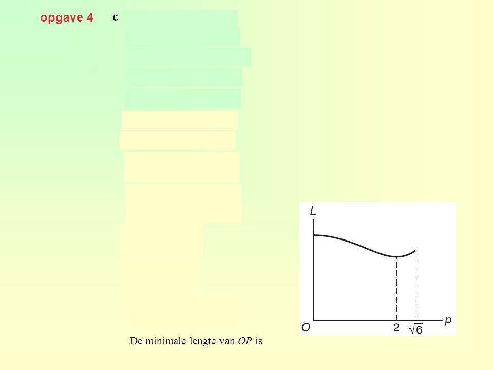 opgave 4 c met geeft De minimale lengte van OP is