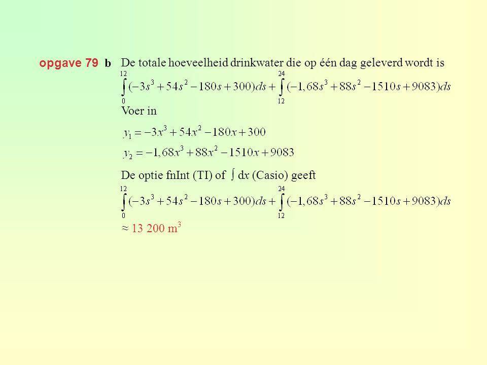 opgave 79 b. De totale hoeveelheid drinkwater die op één dag geleverd wordt is. Voer in. De optie fnInt (TI) of ∫ dx (Casio) geeft.