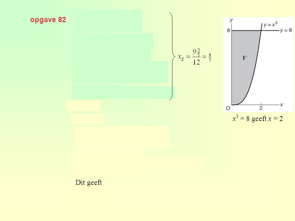 opgave 82 x3 = 8 geeft x = 2 Dit geeft