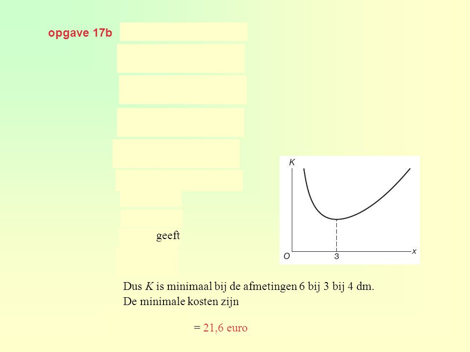 opgave 17b geeft. geeft. geeft. Dus K is minimaal bij de afmetingen 6 bij 3 bij 4 dm. De minimale kosten zijn.