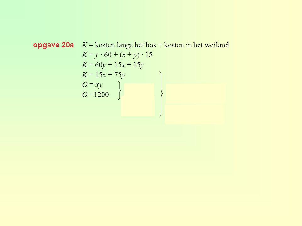 opgave 20a K = kosten langs het bos + kosten in het weiland. K = y · 60 + (x + y) · 15. K = 60y + 15x + 15y.