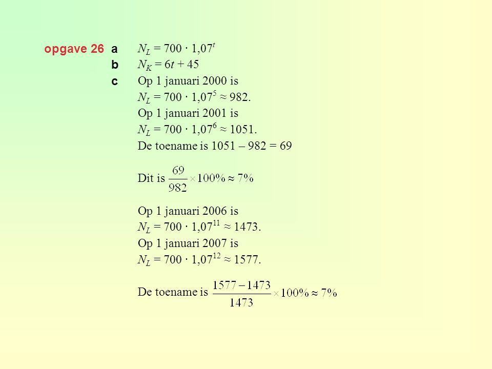opgave 26 a NL = 700 · 1,07t. NK = 6t + 45. Op 1 januari 2000 is. NL = 700 · 1,075 ≈ 982. Op 1 januari 2001 is.