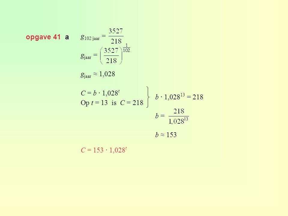 opgave 41 a g102 jaar = gjaar = gjaar ≈ 1,028. C = b · 1,028t. Op t = 13 is C = 218. C = 153 · 1,028t.