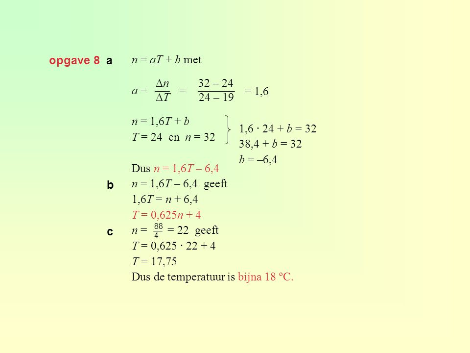 Dus de temperatuur is bijna 18 ºC. ∆n 32 – 24 ∆T 24 – 19 = = 1,6