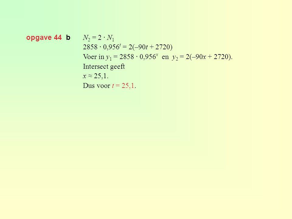 opgave 44 b N2 = 2 · N1. 2858 · 0,956t = 2(–90t + 2720) Voer in y1 = 2858 · 0,956x en y2 = 2(–90x + 2720).