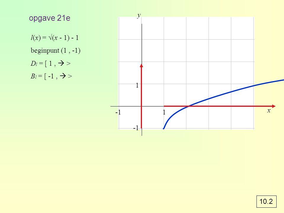 ∙ opgave 21e y l(x) = √(x - 1) - 1 beginpunt (1 , -1)