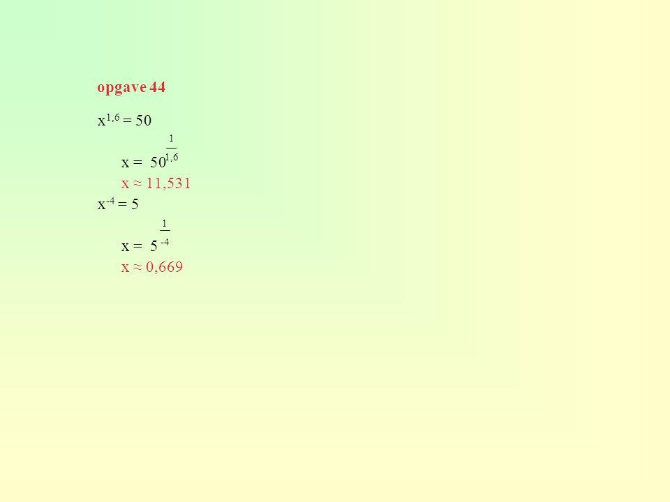 opgave 44 x1,6 = 50 x = 50 x ≈ 11,531 x-4 = 5 x = 5 x ≈ 0,669 1 1,6 1 -4