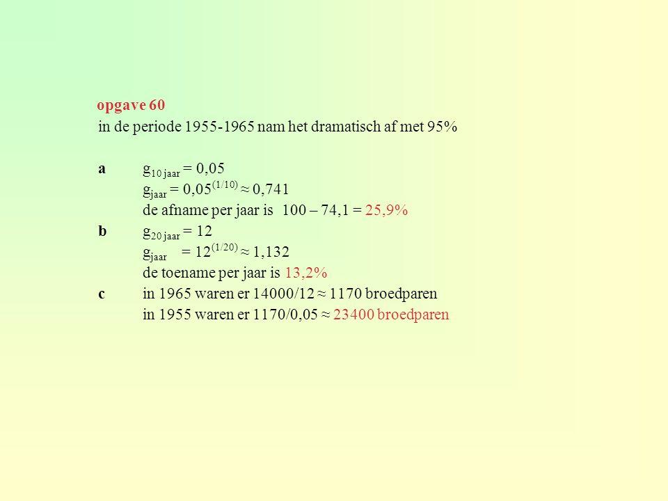 opgave 60 in de periode 1955-1965 nam het dramatisch af met 95% a g10 jaar = 0,05. gjaar = 0,05(1/10) ≈ 0,741.