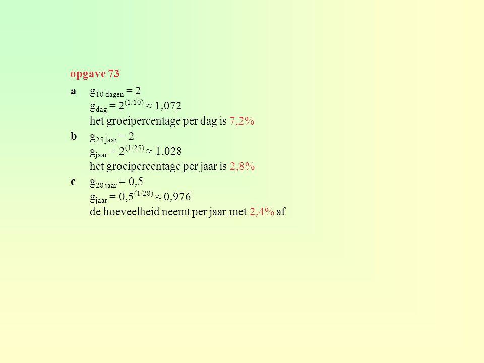 opgave 73 a g10 dagen = 2. gdag = 2(1/10) ≈ 1,072. het groeipercentage per dag is 7,2% b g25 jaar = 2.