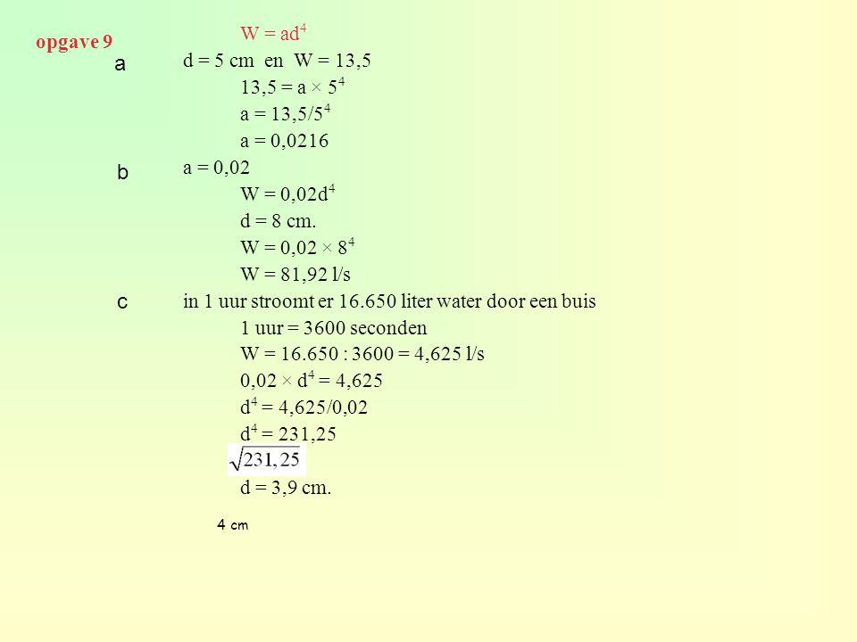 a b c opgave 9 W = ad4 d = 5 cm en W = 13,5 13,5 = a × 54 a = 13,5/54