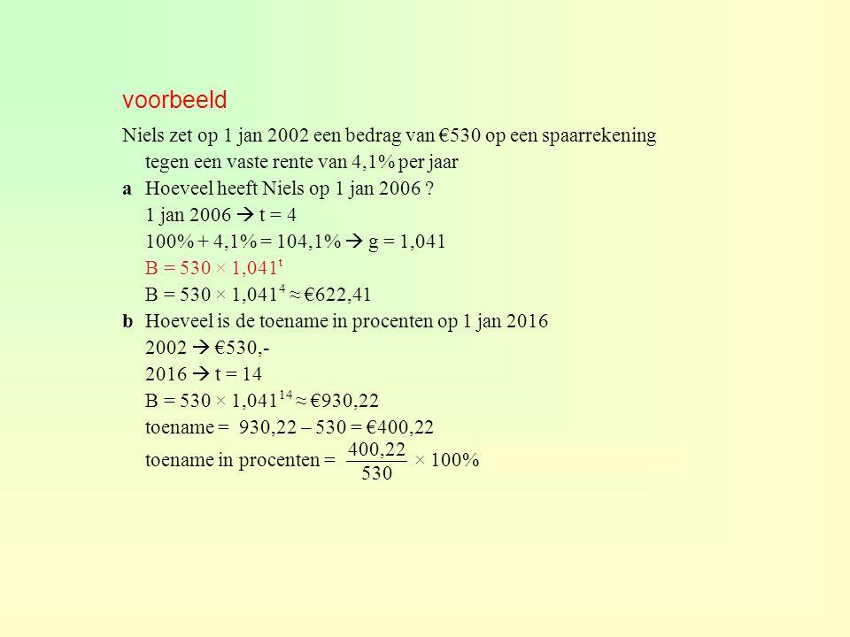 voorbeeld Niels zet op 1 jan 2002 een bedrag van €530 op een spaarrekening tegen een vaste rente van 4,1% per jaar.