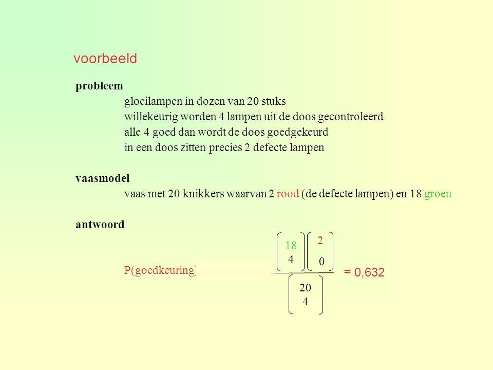 voorbeeld ≈ 0,632 probleem gloeilampen in dozen van 20 stuks