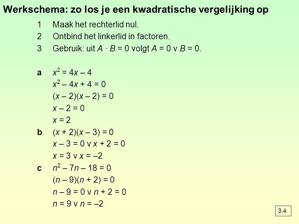 Werkschema: zo los je een kwadratische vergelijking op