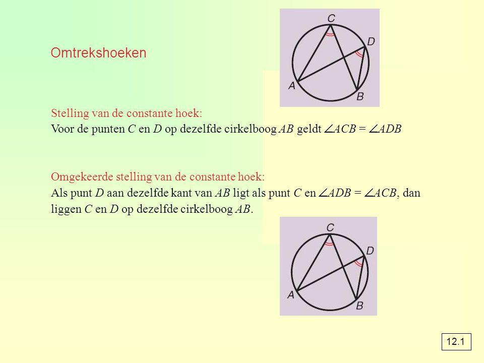 Omtrekshoeken Stelling van de constante hoek: