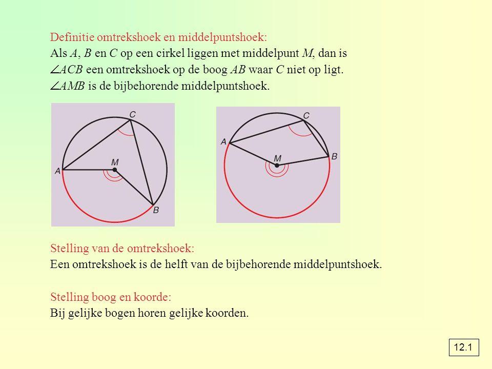 Definitie omtrekshoek en middelpuntshoek: