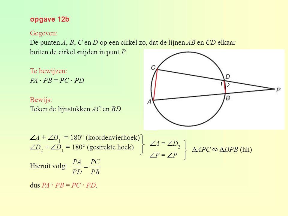 De punten A, B, C en D op een cirkel zo, dat de lijnen AB en CD elkaar