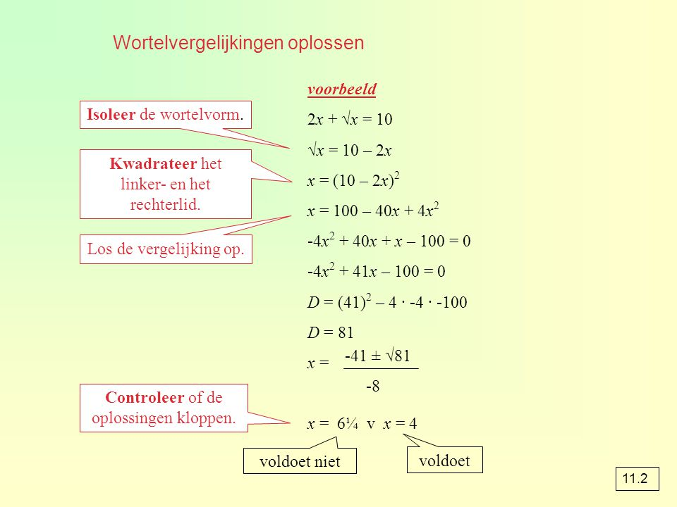 Wortelvergelijkingen oplossen