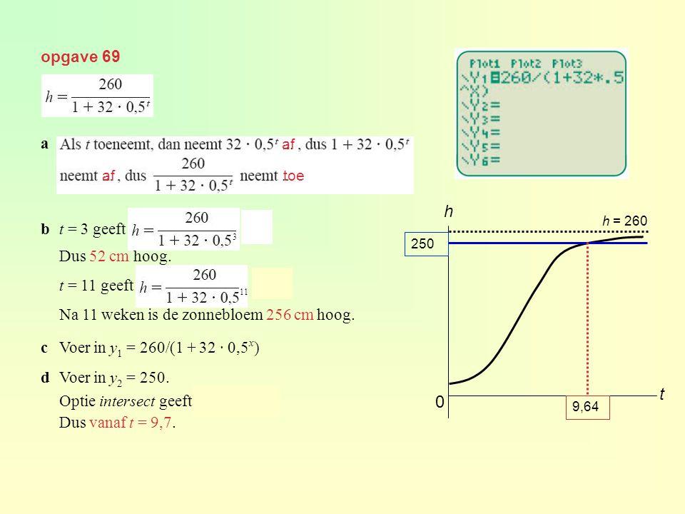 h t opgave 69 a b t = 3 geeft = 52 Dus 52 cm hoog. t = 11 geeft = 256