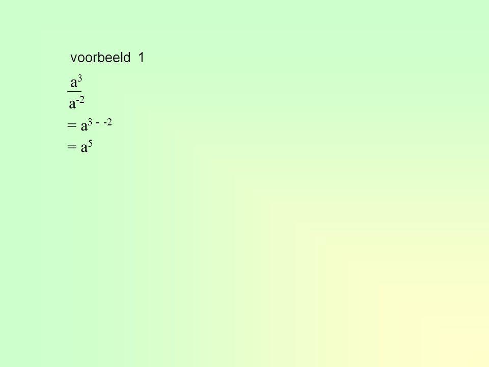 voorbeeld 1 a3 a-2 = a3 - -2 = a5