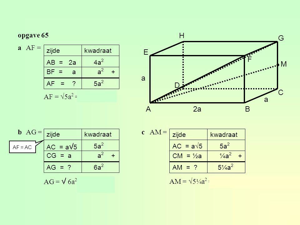 ∙ H G E F M a D C a A 2a B opgave 65 a AF = b AG = AF = √5a2 = a√5