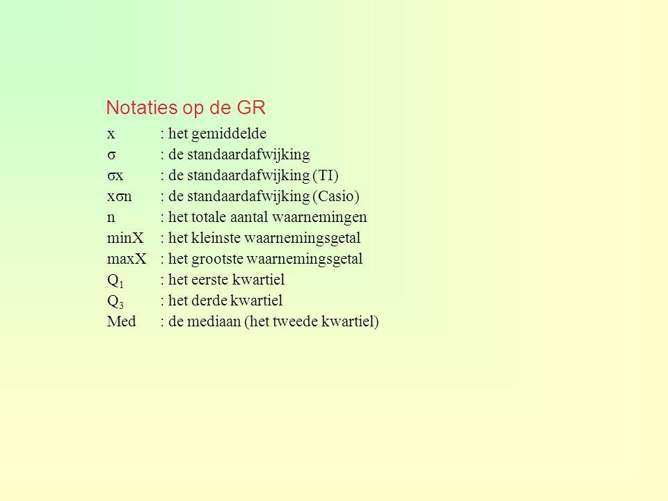 Notaties op de GR x : het gemiddelde σ : de standaardafwijking