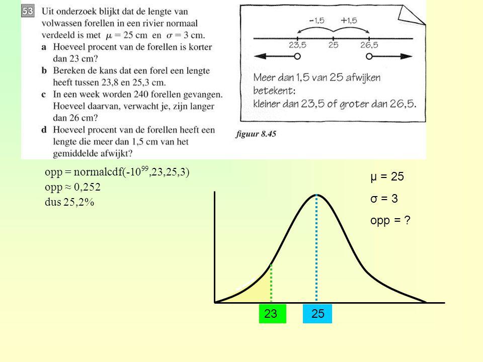 μ = 25 σ = 3 opp = 23 25 opp = normalcdf(-1099,23,25,3) opp ≈ 0,252